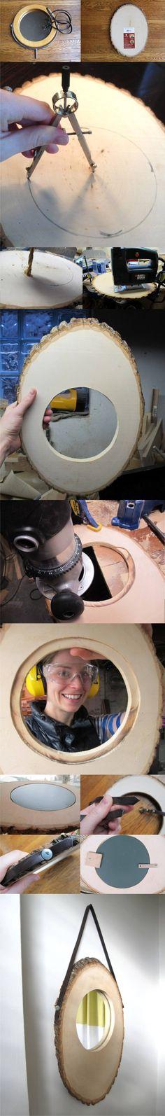 DIY Slice Mirror - merrypad.com - Espejo DIY con tronco como base