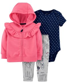 Featuring a polka dot bodysuit, coordinating doggy pants and a zip-up jacket, this 3-piece set lets baby layer up or layer down all year long!