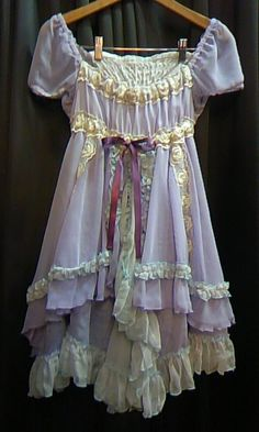 Pretty lavender fairy kei lolita dress chiffon and yellow. Moda Aesthetic, Aesthetic Clothes, Pretty Outfits, Pretty Dresses, Cool Outfits, Look Fashion, Fashion Outfits, Fashion Design, Fairy Clothes