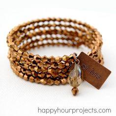 DIY Bronze Memory Wire Bracelet