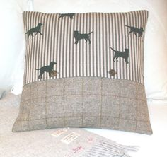 Labradors & tweed  Cushion / Throw Pillow Cover - Emily Bond linen - Pure wool tweed / plaid - Windowpane check - Both sides - Dog - 18 x 18...
