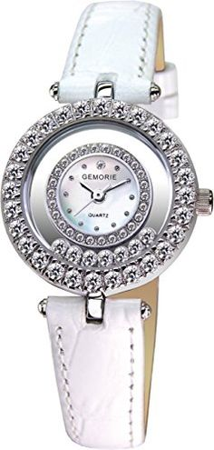 Gemorie Petite White Leather Watch with Diamond Cut Cz (129111)  $138.40