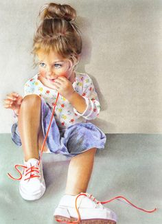 """THE GOOD LORD DELIGHTS IN THE Innocence OF BEAUTIFUL CHILDREN-Saatchi Online Artist: Anna Roberts; Pastel, 2012, Drawing """"Candy Laces"""""""