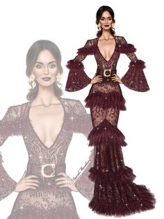 The beautiful Nicole Trunfio stunning in a ZUHAIR MURAD plum lace gown from the Haute Couture Winter 2016 Collection at the #grammys2017 #digitaldrawing by @david mandeiro illustrations