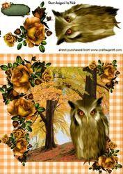 Herfst Met Gouden Rozen En Uil 8x8