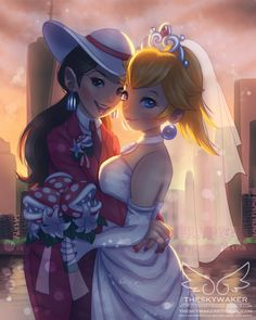 mario odyssey alternate best ending where mayor pauline swoops in and marries peach and they become queens of new donk city and world peace is achieveds. Peach And Pauline 14 Mario Bros., Mario And Luigi, Beautiful Fantasy Art, Beautiful Anime Girl, Game Character, Character Design, Nintendo Princess, Super Mario Art, Pokemon