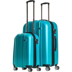 CalPak Winton 2-Piece Expandable Lightweight Luggage Set - Turquoise -... (525 BRL) ❤ liked on Polyvore featuring bags, luggage, blue and luggage sets