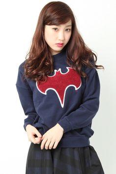 MURUA(ムルーア)【CASUAL】BATMANロゴスウェット(バットマン)sweatshirt Japan