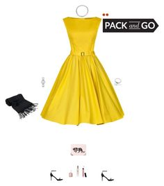 """I'm packed and ready to go (Dress Outfit with Heels)"" by kitchenchild ❤ liked on Polyvore featuring Yves Saint Laurent, Benedetta Bruzziches, Anna Sheffield, Movado, Essie, Bare Escentuals, Forzieri, Jo Malone and contest"