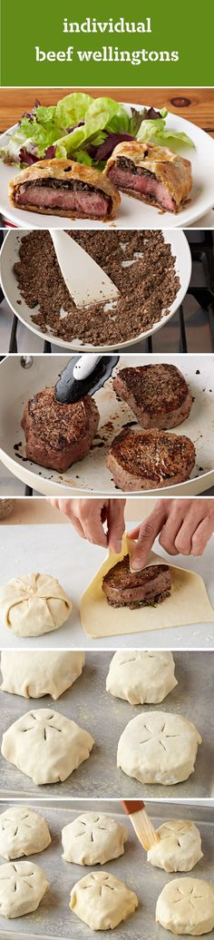Individual Beef Wellington Recipe – Prepare these individual entreés for your family during the holidays. Not only will they enjoy the classic, savory flavor of mushrooms, peppercorns, KRAFT Parmesan (Bacon Cheese Steak) Individual Beef Wellington, Beef Recipes, Cooking Recipes, Cheese Recipes, Beef Wellington Recipe, Beef Tenderloin, Beef Dishes, Beef Wellington, Gastronomia