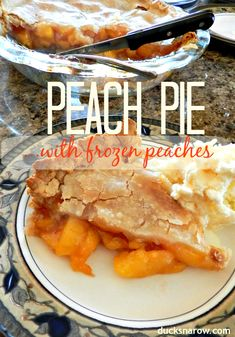 Easy delicious homemade peach pie with frozen peaches #recipes