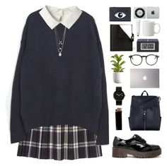 """""""back to school"""" by f-resh ❤ liked on Polyvore featuring Monki, Zara, Maison Margiela, Truffle, New Look, Samsung, Alessi, Wildfox, Crate and Barrel and Hermès"""