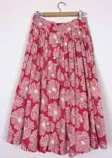 Vtg 50s Red White Floral Skirt Rockabilly Ditsy Retro Long Gathered Full Length
