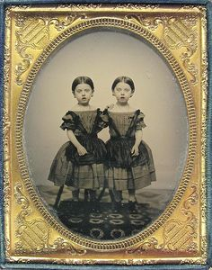 Ambrotype - The Watts Twins in Summer Dresses   ca. 1850