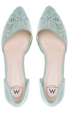 Mint Lace Flats