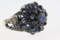 ANTIQUE ESTATE VICTORIAN 14K YELLOW GOLD LADYS AAA CELINE SAPPHIRE RING 2.87CTT