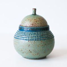 Ancient Turquoise Trinket Jar, Stoneware Pottery