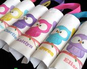 Items similar to 6 personalized owls themed birthday eco friendly mini party favor tote bags for boys and girls on Etsy