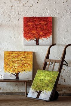"""""""set of three handpainted oil paintings 