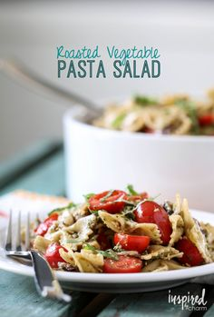 Roasted Vegetable Pasta Salad. Yummy pasta salad as a side dish. Side dish recipe.