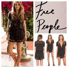 """Free People Embroidered Noyal Song Romper.  NWT. Free People Black Printed Embroidered Noyal Song Romper, 55% viscose, 45% cotton, machine washable, 21"""" armpit to armpit (42"""" all around), 38"""" drawstring waist which stretches up to 46"""", 36"""" length, 2.5"""" inseam, V neckline with hook and eye front closure, cinched drawstring waistband with ties at side seams, hide side seam pockets, alłover cream with teal, cranberry, copper and silver embroidery, measurements are approx.  Truest color is…"""