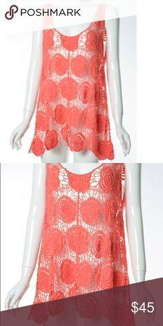 Coral Crochet Tank 100 % Cotton Loose fitting Tank with floral pattern, sits longer on the sides Tops Tank Tops