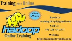 HADOOP ONLINE TRAINING @ Training24/7online  http://training24x7online.com/courses/other-courses/hadoop-online-training.html Reach us : +91 720 774 3377 / training24.hyd@gmail.com Training24x7online is an excellent Online Portal.We are providing online training on HADOOP.Our trainers have vast experience in this field and they are highly qualified software professional with dedication towards training for HADOOP. They also guides the students in a real time oriented way.