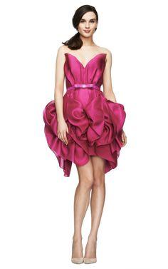 Shop Strapless Silk Gazaar Cocktail Dress by Marchesa Now Available on Moda Operandi