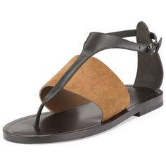 Vince Thea Leather/Suede Thong Sandal ($290) ❤ liked on Polyvore