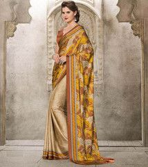 Yellow & Brown Color Crepe Kitty Party Sarees : Taranvi Collection  YF-41038