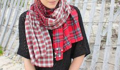 DIY Free People Checked Shirt Scarf with Circle Studs Knockoff Tutorial from Rock Mosaic here. I really like this tutorial because she uses recycled flannel shirts. Top Photo: $48 Free People Checked Shirt Scarf here, Bottom Photo: DIY by Rock...