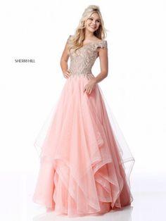 Sherri Hill - 51614 Lace Appliqued Corset Tiered A Line Dress Junior Prom Dresses, Princess Prom Dresses, Pink Prom Dresses, Dressy Dresses, Homecoming Dresses, Club Dresses, Quinceanera Dresses, Dance Dresses, Long Dresses
