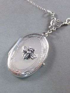 Queen Bee, Sterling Silver, Locket,Necklace,Pendant,Bumble,Mother,Summer.  Handmade jewelery by valleygirldesigns on Etsy. by ValleyGirlDesigns on Etsy https://www.etsy.com/listing/72748254/queen-bee-sterling-silver