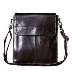 Men Unique Buckle Patchwork Design Cross-body Bag Fashion Business Messenger Bag Fashion Business, Handbags For Men, Messenger Bag Men, Casual Bags, Cow Leather, Real Leather, Leather Satchel, Leather Wallet, Crossbody Bags