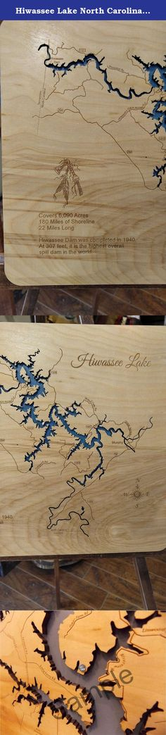 Hiwassee Lake North Carolina : Standout Wood Map Wall Hanging. This is a beautifully detailed, laser engraved and precision cut topographical Map of Hiwassee Lake in Cherokee County, North Carolina with the following interesting stats carved into it: Covers 6,090 Acres, 180 Miles of Shoreline, 22 Miles Long, Hiwassee Dam was completed in 1940. At 307 feet, it is the highest overall spill dam in the world. This stand out map is mounted onto a tranquil blue background with a key hole cut on...