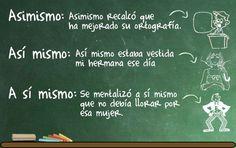 Diferencias ASIMISMO, ASÍ MISMO, A SÍ MISMO