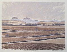 Sinoden Hills from Cholsey Hill, Spring - Woodcut by Andrew Ferguson