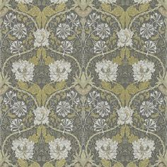 Honeysuckle and Tulip Wallpaper A Honeysuckle & Tulip design in charcoal and gold, this wonderful design from the Morris & Co collection was first produced in 1876.