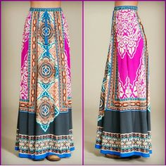 FLYING TOMATO Midnight Mandala maxi skirt An alluring maxi skirt in a mandala-like print; a blend of magenta, blue, peach and rust - the colors of summer twilights. - 100% rayon - tassel tie at the waist Flying Tomato Skirts Maxi