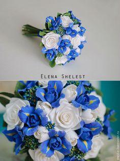"""Купить Букет невесты из полимерной глины """" Я возьму у неба синеву..."""" - синий"""