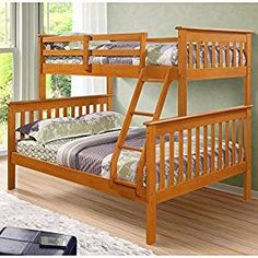 Make the most of it with the Donco Kids Twin Over Full Mission Bunk Bed . With a full/double sized bed on the ground floor and a twin. Bed With Underbed, Bunk Beds With Drawers, Bunk Beds With Storage, Bunk Beds With Stairs, Kids Bunk Beds, Bed Storage, Storage Drawers, Bed Rails, Twin Full Bunk Bed