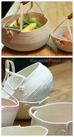 DIY coiled rope baskets