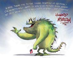 """Howard McWilliam, autor ilustracji w książce """"Potrzebuję mojego potwora"""", dziękuje czytelnikom ze stanu Georgia."""