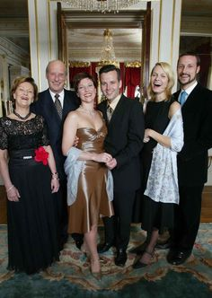 Queen Sonja and King Harald of Norway and family-Princess Martha Louise and Ari Behn, Crown Princess Mette-Marit and Crown Prince Haakon Magnus, early 2000's