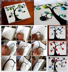 How to DIY Button Tree Canvas Wall Art | iCreativeIdeas.com Follow Us on Facebook --> https://www.facebook.com/icreativeideas