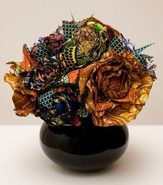 African fabric flower bouquet - great way to use scraps!