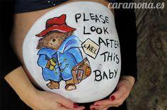 Belly painting, pintura para embarazada, paddington bear