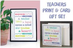 Teacher Quote Typography Gift Set  by JLWIllustration on Etsy, £10.00