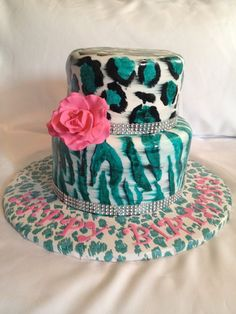 Fabulous Diva-licious leopard/Zebra Birthday Cake - by Caroline Diaz @ CakesDecor.com - cake decorating website