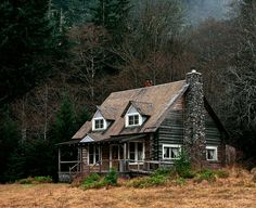 A rustic log cabin in the Olympic National Park, Wash.